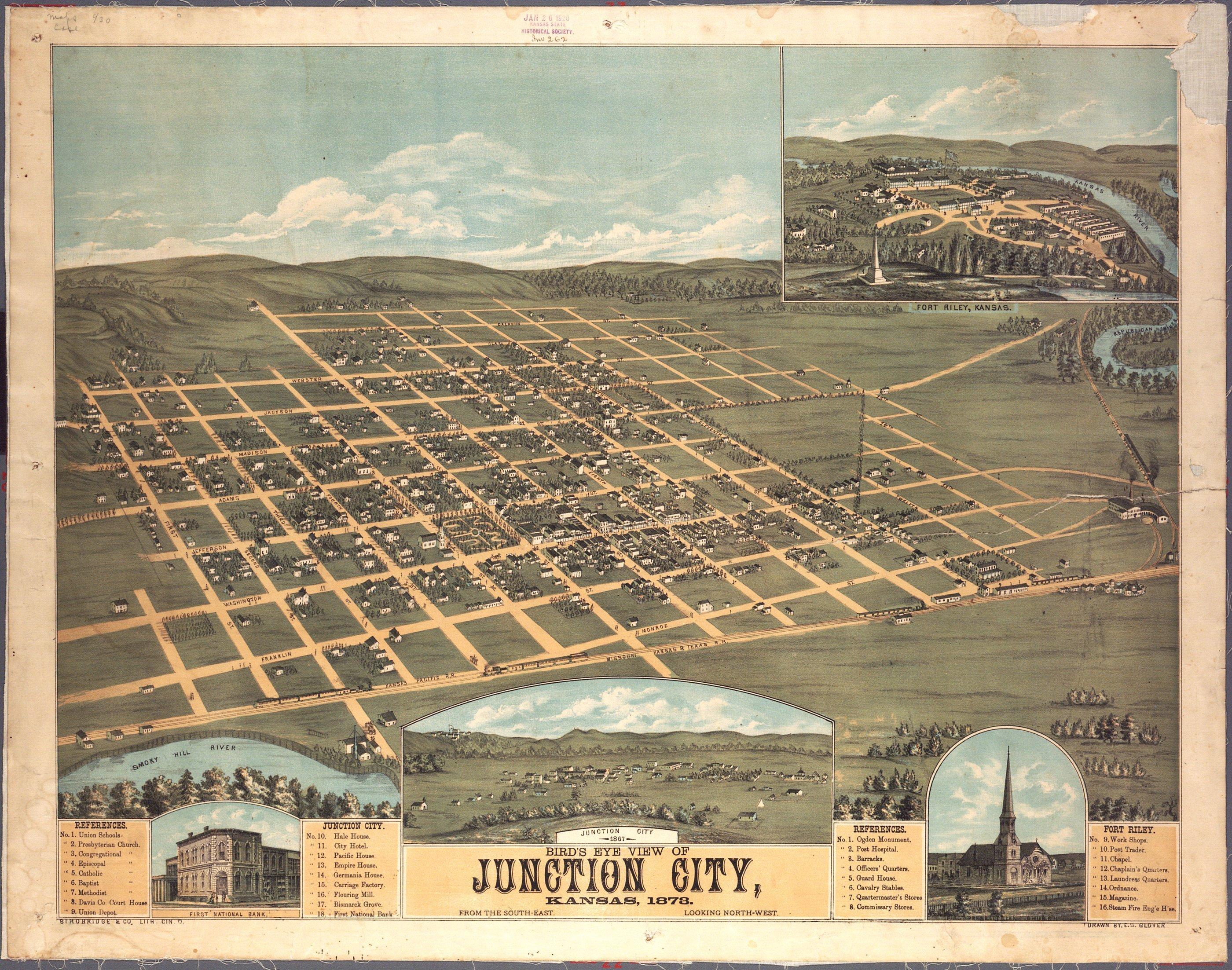 Bird's eye view of Junction City, Kansas