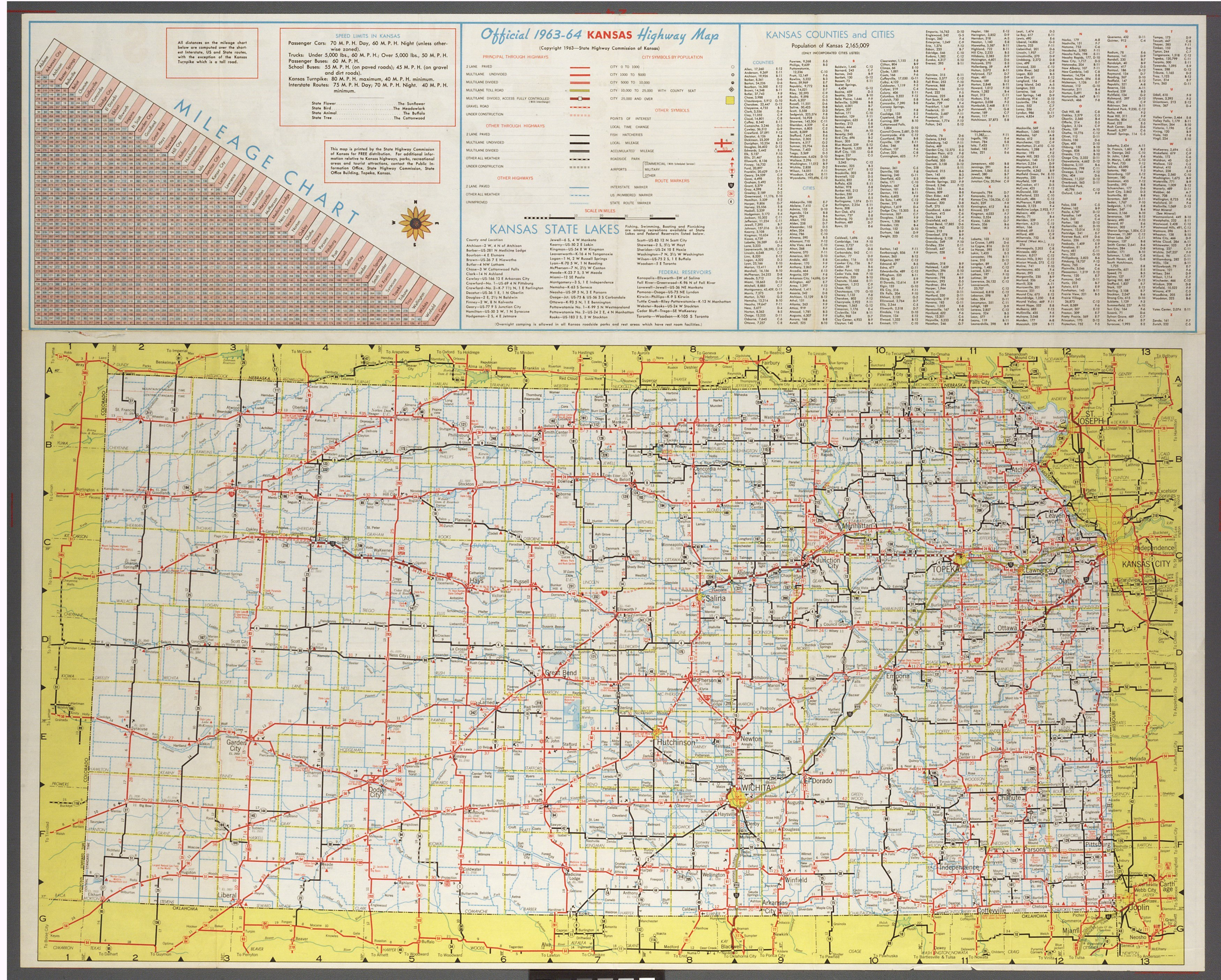 Official 1963-64 Kansas highway map - Kansas Memory - Kansas ... on ks highway map, western kansas highway map, missouri hwy map, kansas road map with cities,