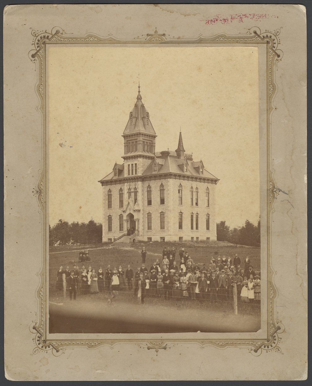 Campbell College, Holton, Kansas - A photograph of Campbell College (or Holton University) presented to Flo V. Knisely by Will M. Leonard, July 30, 1883