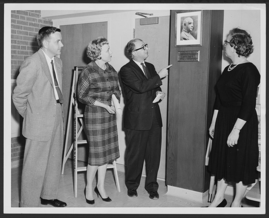 Menninger Children's Hospital, Topeka, Kansas, 1960-1962 - Dedication of the Donald J. Cowling library.  Shown are Richard Whelan, Mrs. Betty Bowling, Dr. Robert Switzer and Miss Mary Jane Baxter.