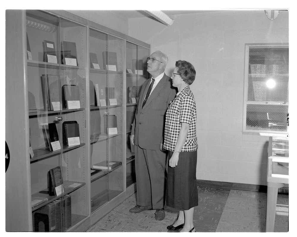 Medical library, Menninger's east and west campus - This photograph shows Dr Karl and Vesta Walker, the librarian in the Medical Library on the east campus.