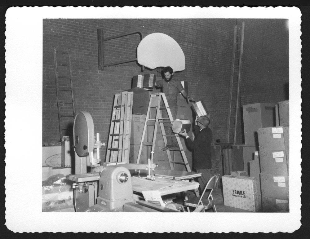 Menninger Children's Hospital, Topeka, Kansas, 1960-1962 - Thomas Comfort and Mr. Harder are unpacking boxes during the move.