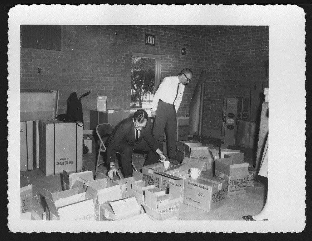 Menninger Children's Hospital, Topeka, Kansas, 1960-1962 - Roger Hoffmaster and Mr. Harder are unpacking after the move.