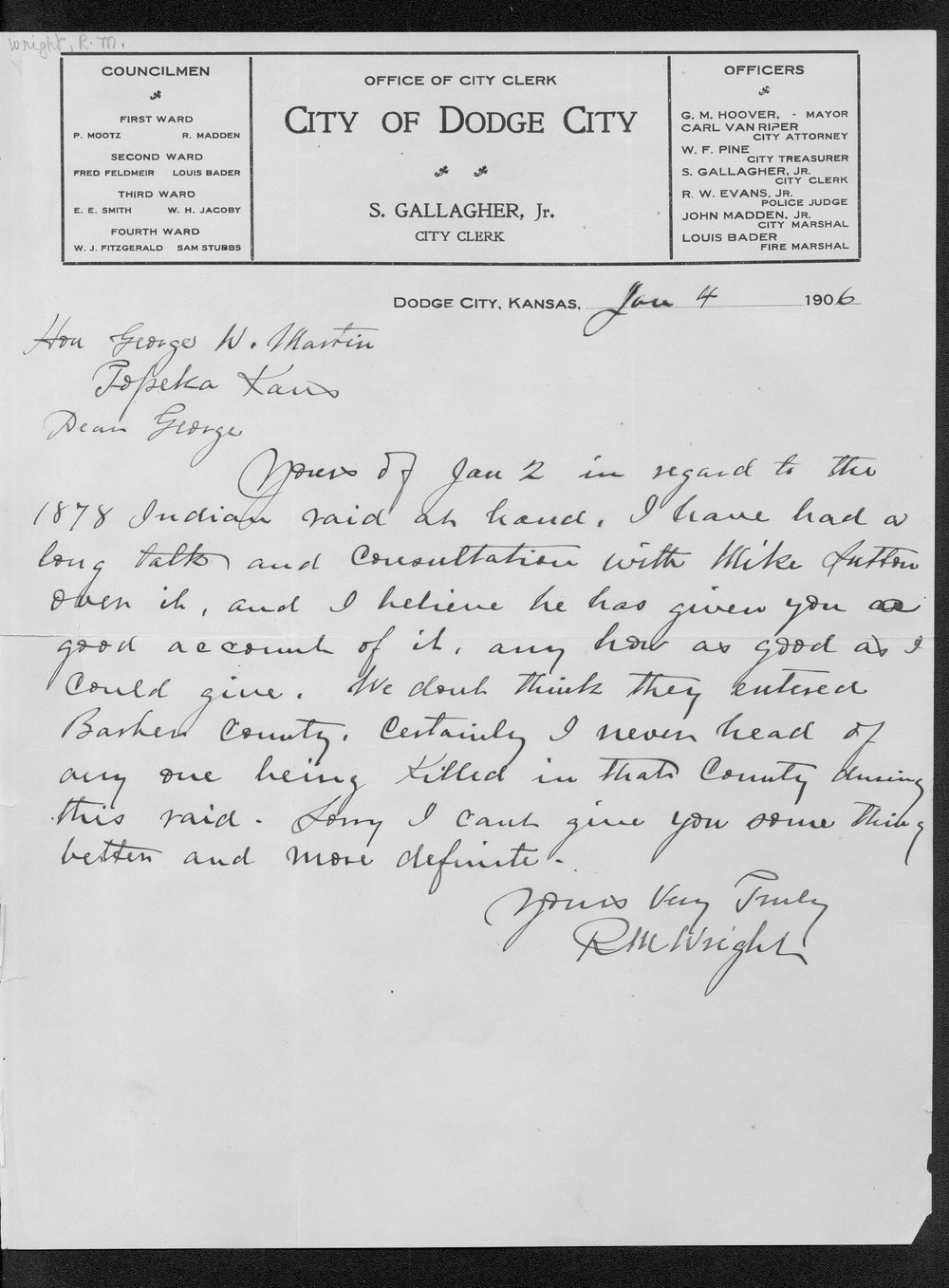 George Martin correspondence on the 1878 route of the Cheyenne Indians through Kansas - 4