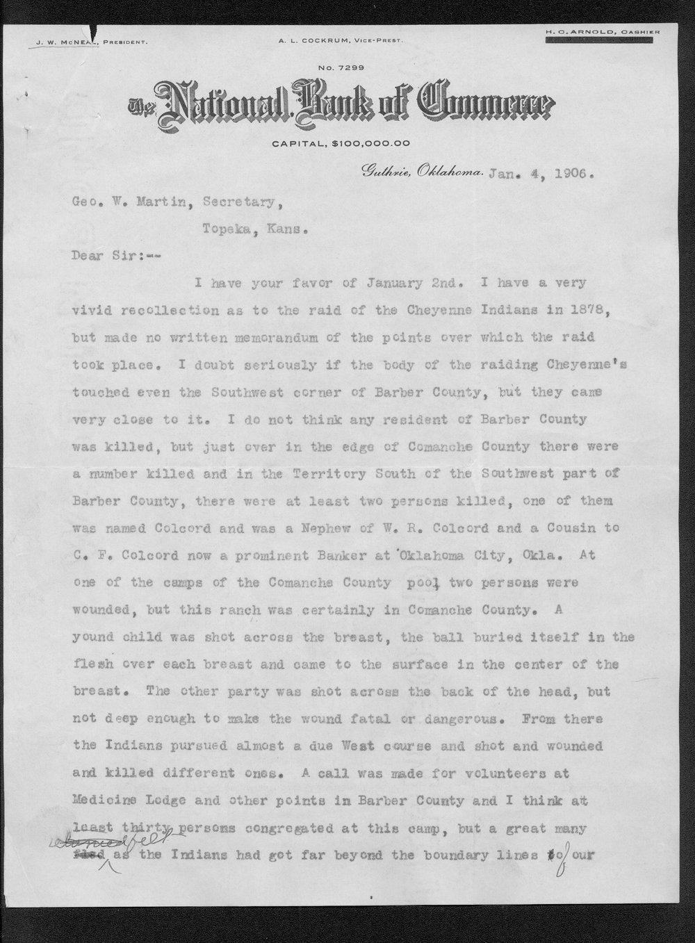 George Martin correspondence on the 1878 route of the Cheyenne Indians through Kansas - 5
