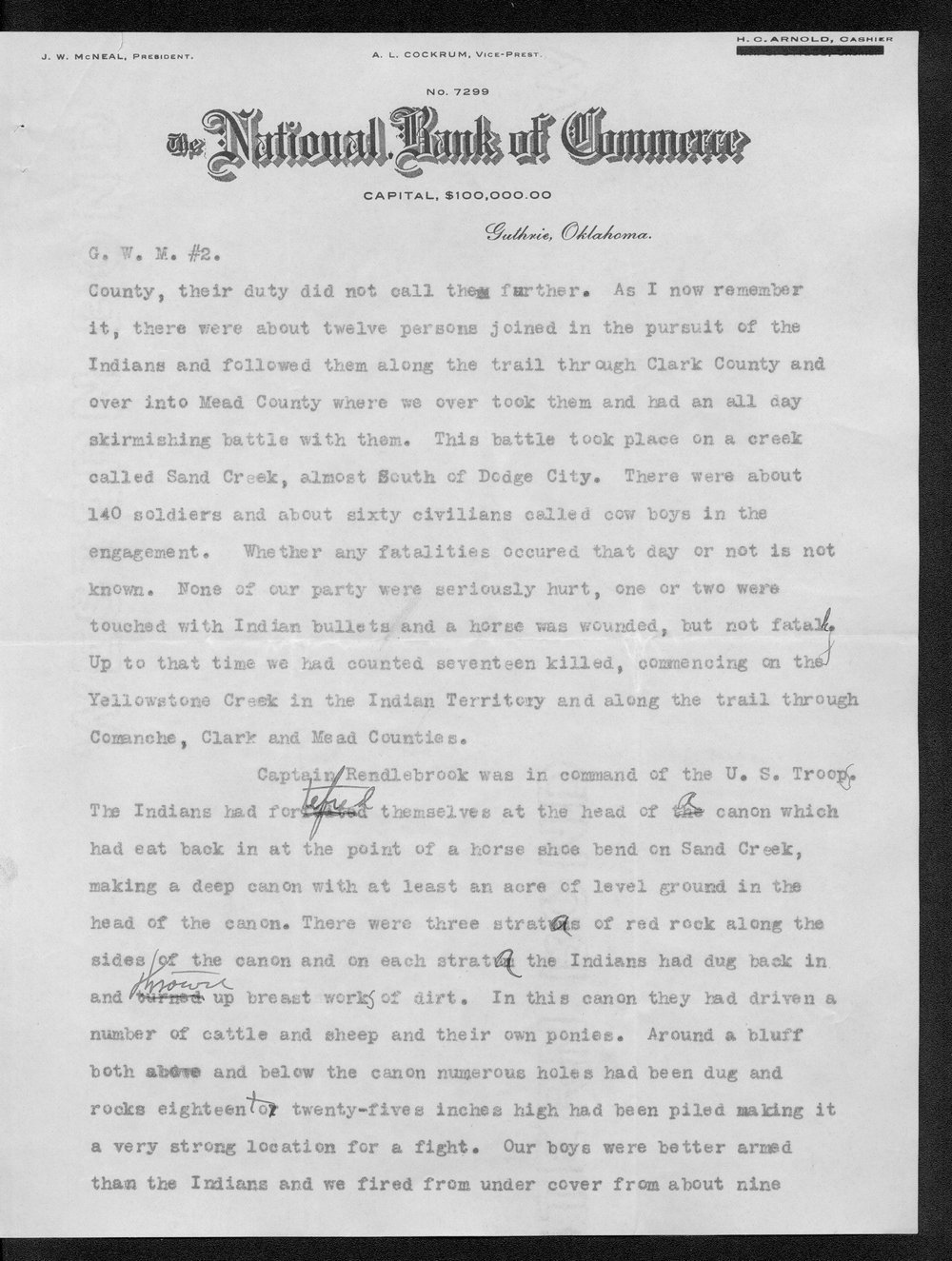George Martin correspondence on the 1878 route of the Cheyenne Indians through Kansas - 6