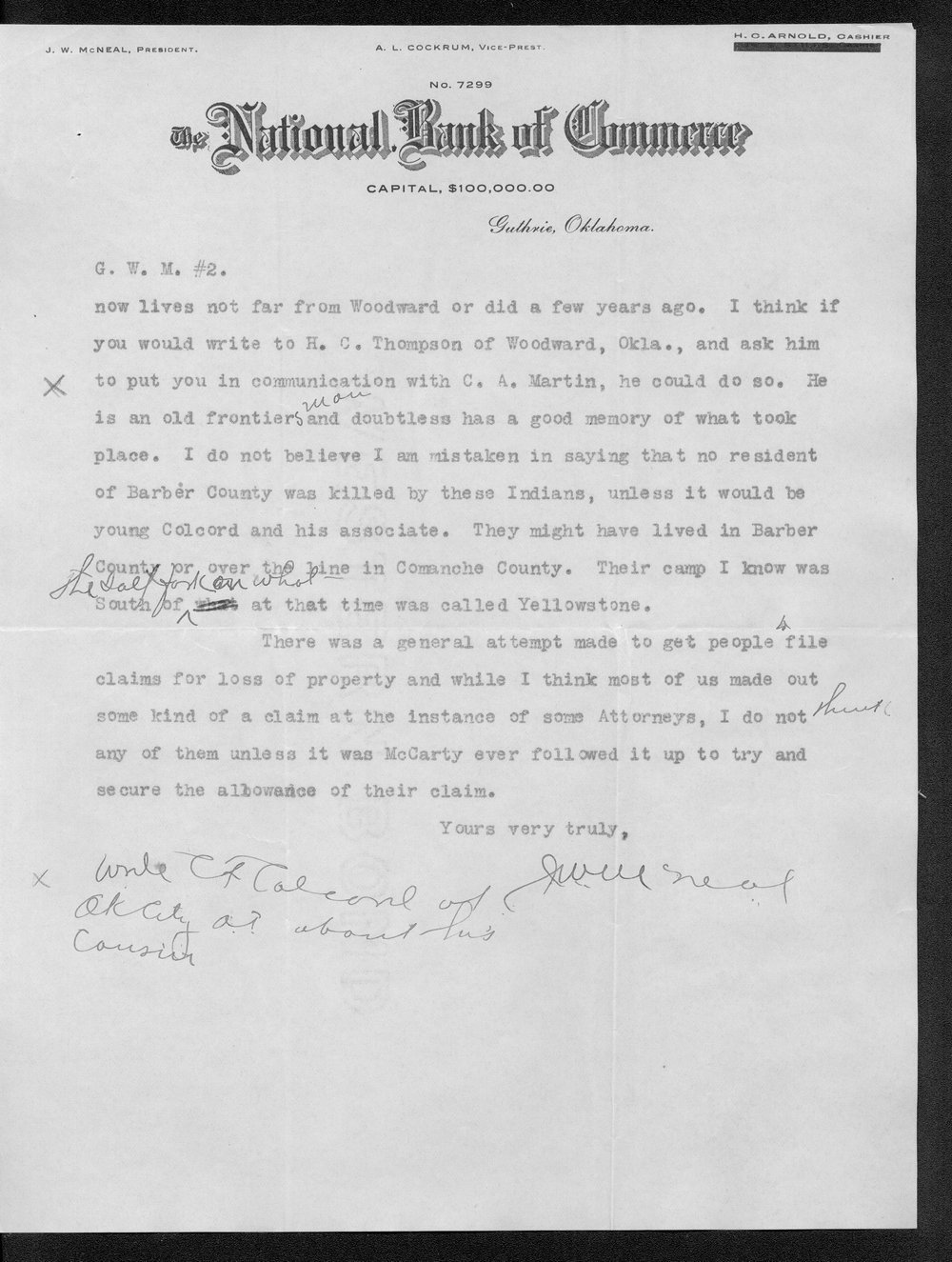 George Martin correspondence on the 1878 route of the Cheyenne Indians through Kansas - 10