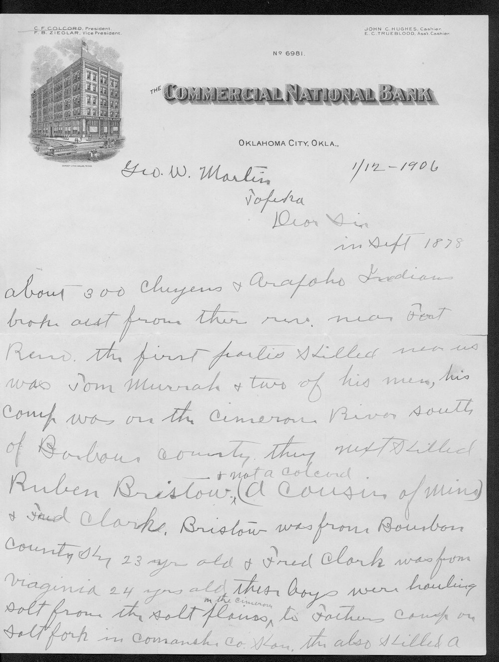 George Martin correspondence on the 1878 route of the Cheyenne Indians through Kansas - 11