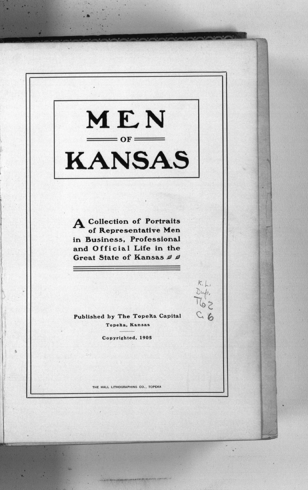 Men [and women] of Kansas - Title Page