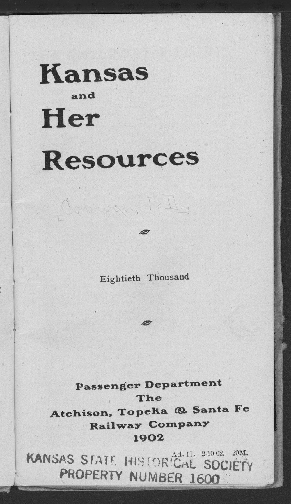 Kansas and her resources - Title Page