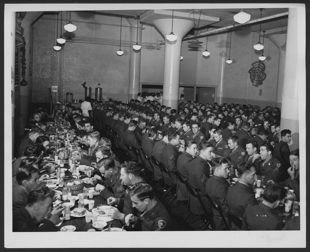 Fred Harvey military dining room in Los Angeles, California