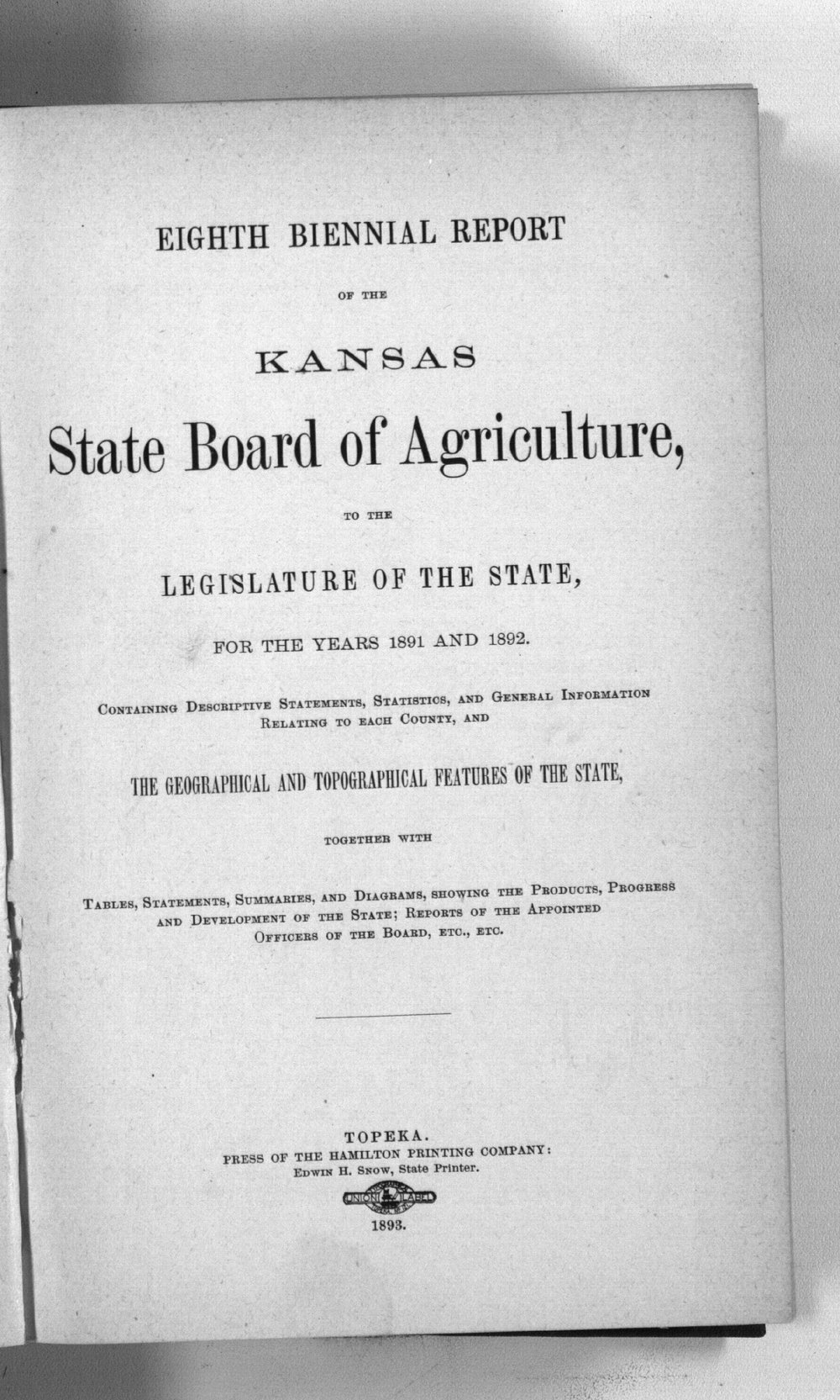 Eighth biennial report of the Kansas State Board of Agriculture, 1891-1892 - Title Page, Eighth Biennial, v13, 1891-1892
