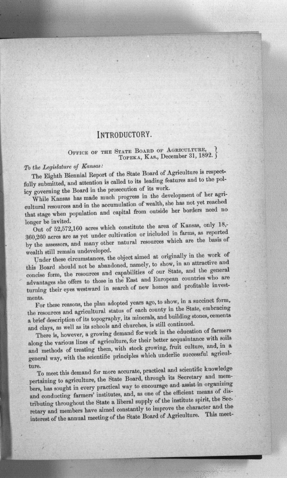 Eighth biennial report of the Kansas State Board of Agriculture, 1891-1892 - Introductory