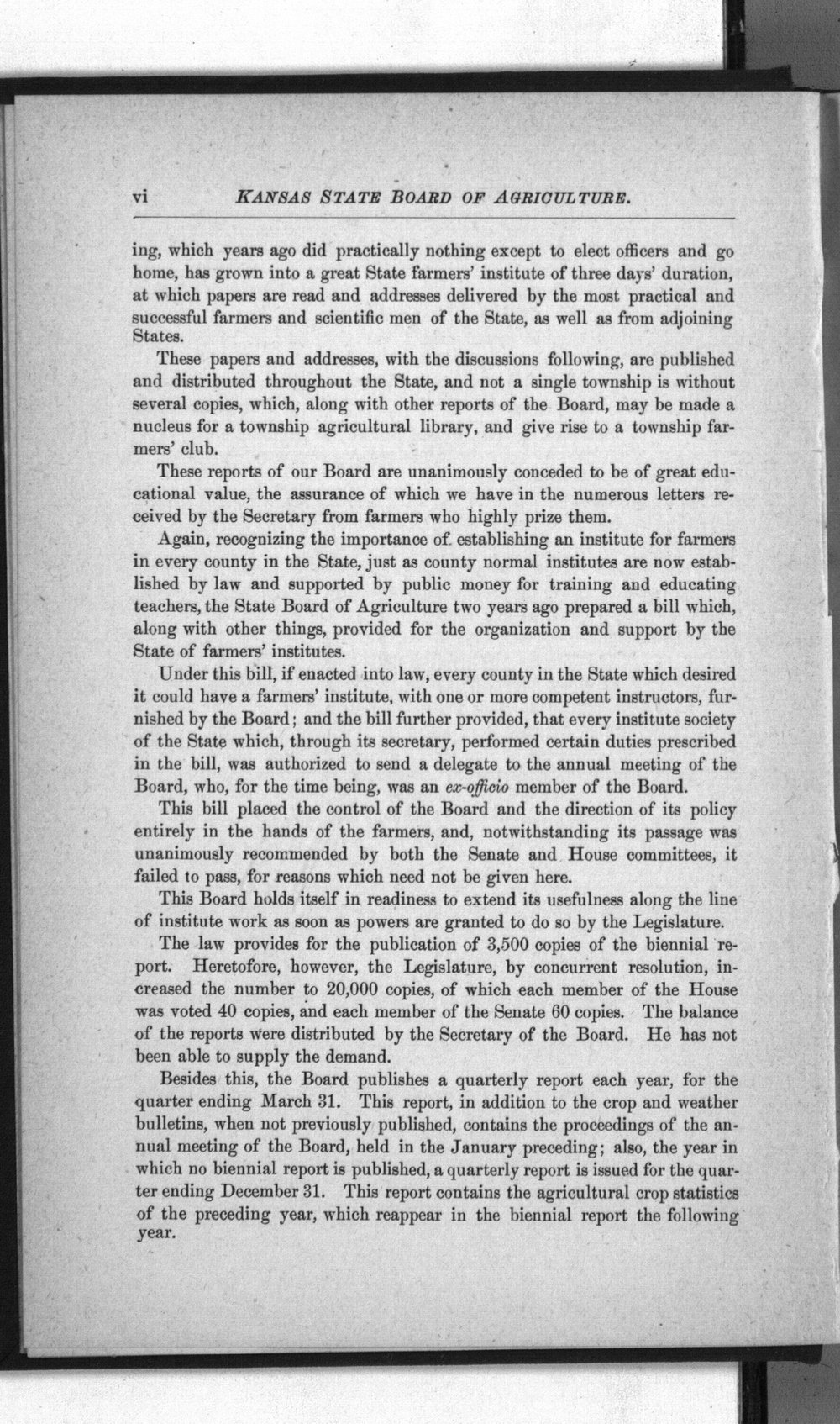 Eighth biennial report of the Kansas State Board of Agriculture, 1891-1892 - vi