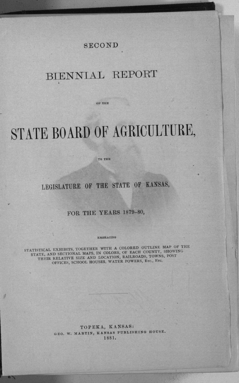 Second biennial report of the Kansas State Board of Agriculture, 1879-80 - Title Page, Second Biennial, v7, 1879-1880