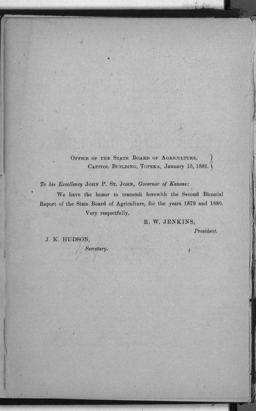 Second biennial report of the Kansas State Board of Agriculture, 1879-80 - Transmittal