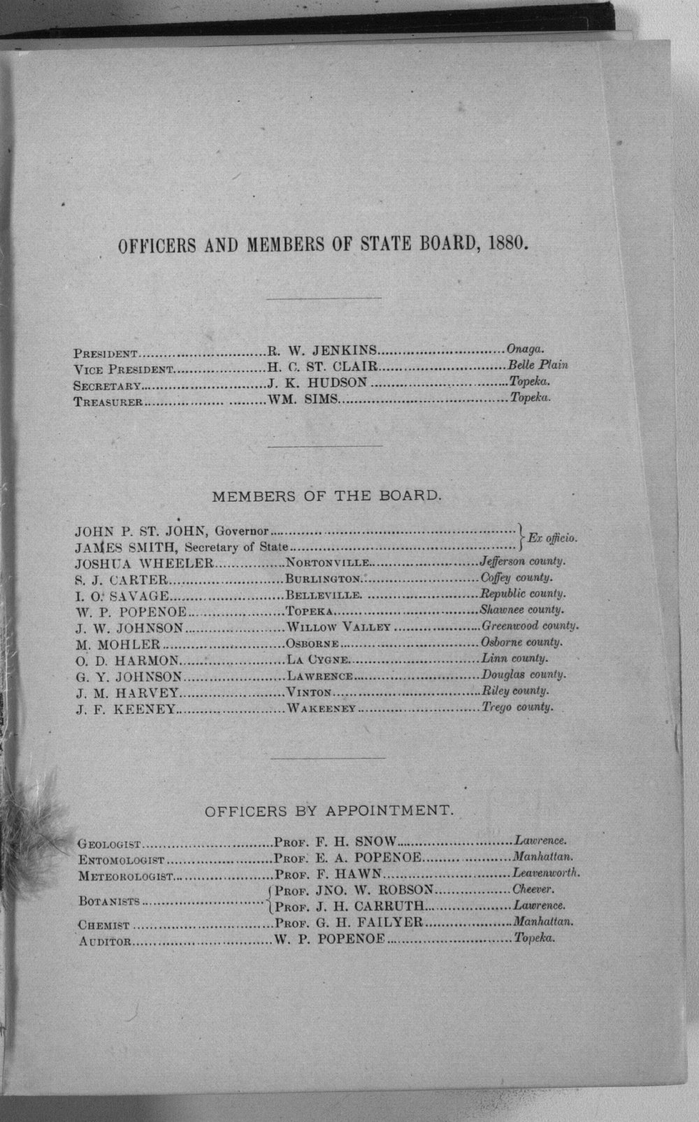 Second biennial report of the Kansas State Board of Agriculture, 1879-80 - Officers