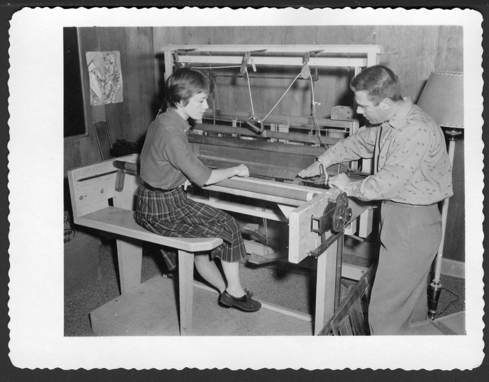 Adjunctive Therapy at the Menninger Clinic in Topeka, Kansas - Georgia Menninger and Don Jones are working on the loom used for weaving therapy.
