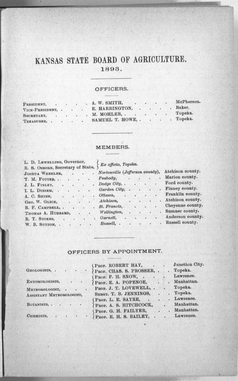 Eighth biennial report of the Kansas State Board of Agriculture, 1891-1892 - Officers
