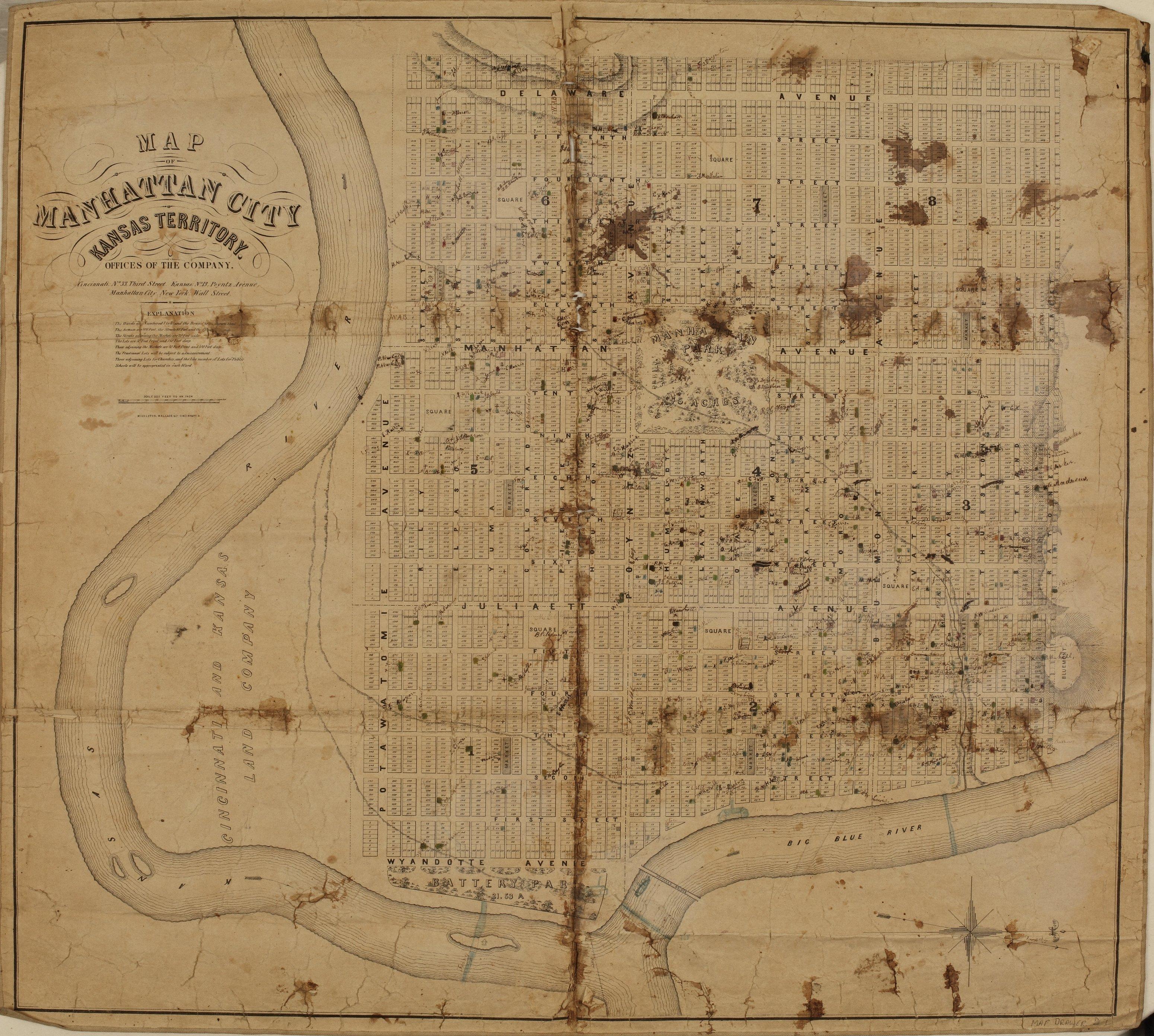 Map Of Manhattan Kansas.Map Of Manhattan Kansas Territory Kansas Memory Kansas