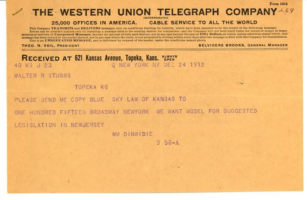 Telegram from William Dinwidie to Governor Walter Roscoe Stubbs