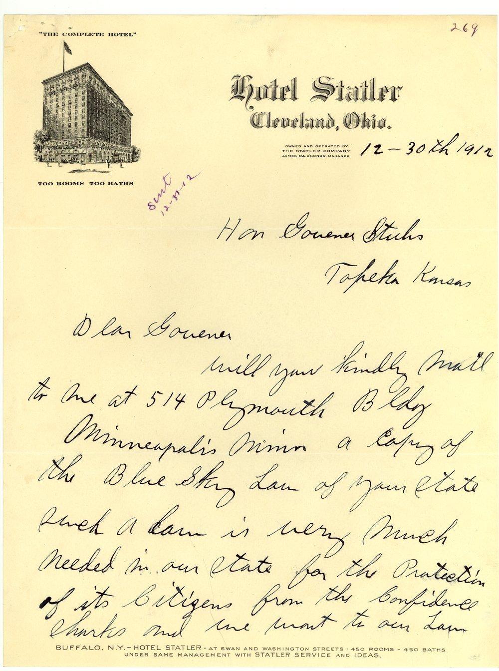 Letter from E. T. Merritt to Governor Walter Roscoe Stubbs - 1