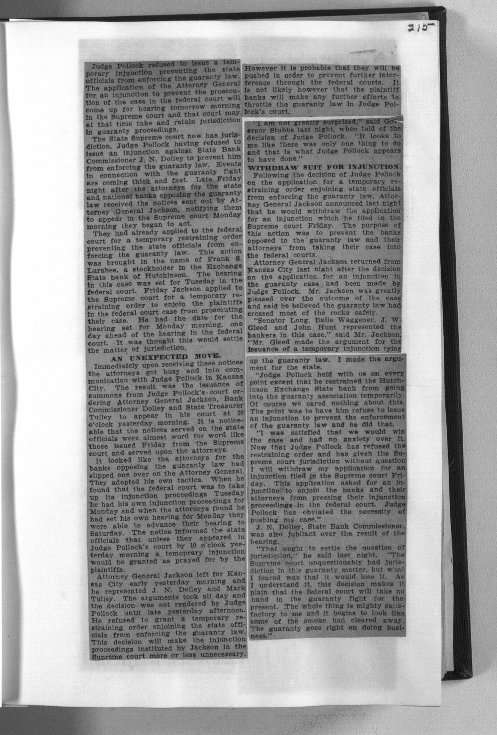 Banks and banking newspaper articles - 215