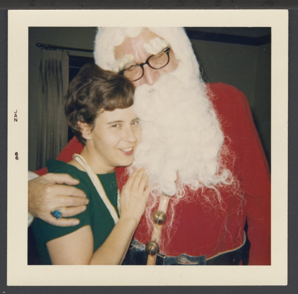 Menninger Family Christmas 1965 - Joan Klemmer with Dr. Karl (Santa Claus)
