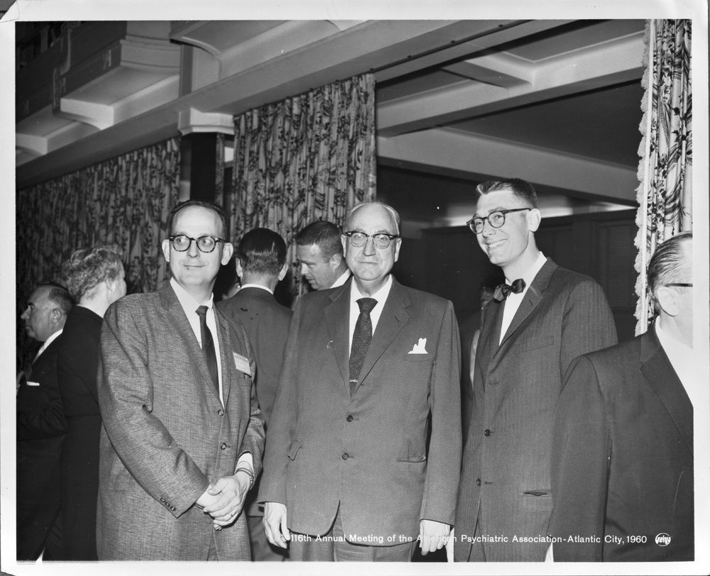 Dr. Karl Menninger - Dr. Bob, Dr. Karl, and Dr. Walt at the 116th Annual Meeting of the American Psychatric Association in Atlantic City, 1960.