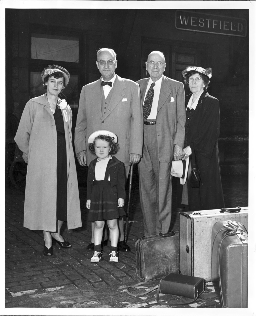 Karl Menninger, M.D. - Dr. Karl is shown with Rosemary, Jean, Dr. C.F. and Pearl arriving for the Chautaqua.  This photo was probably taken in 1951 when Rosemary was 3.