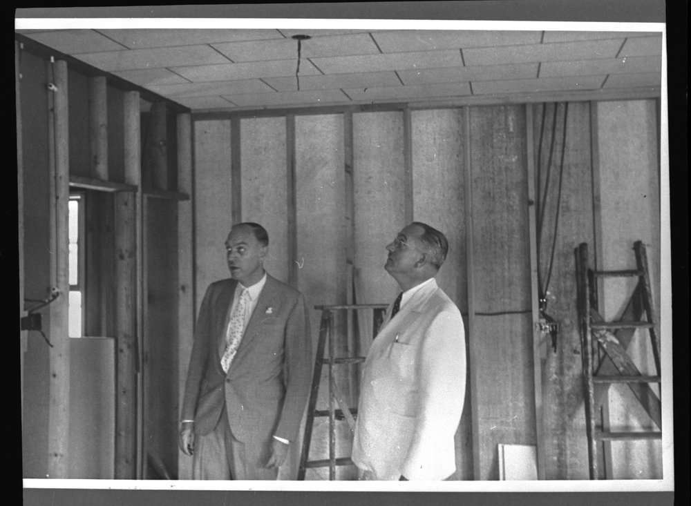 Menningers - Dr. Will and Dr. Karl inspect the construction of the Arts and Craft Shop in the summer of 1937.