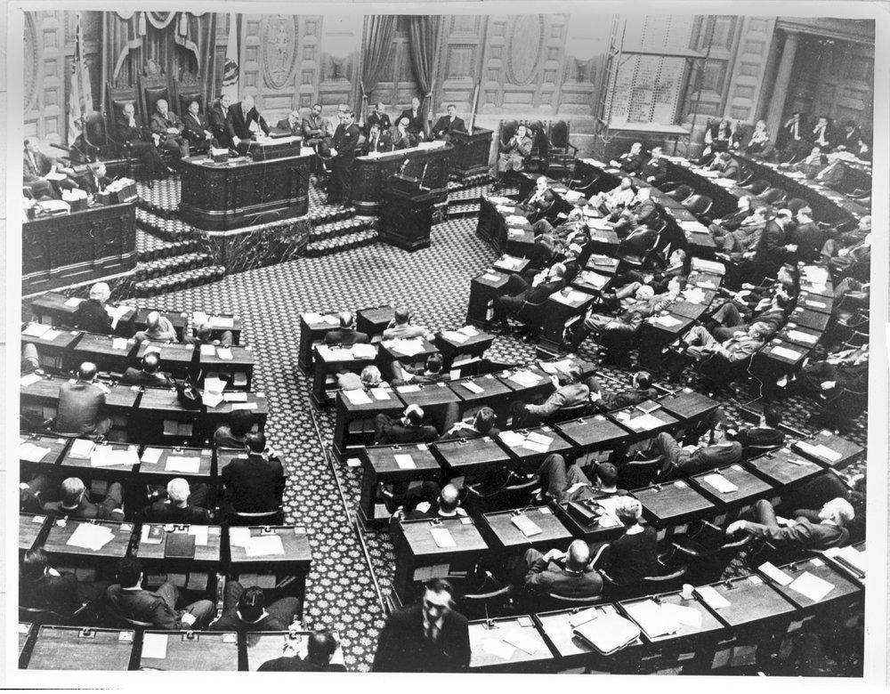 William C. Menninger, M.D. addressing state legislatures - Dr. Will is addressing the Massachusetts legislature on March 16, 1965.