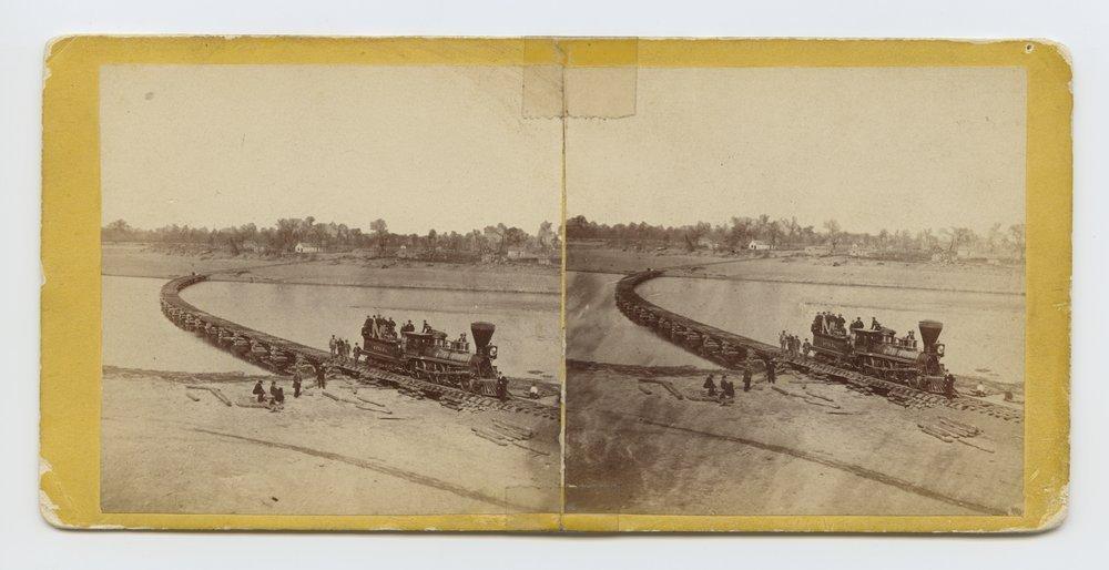 Leavenworth, Lawrence & Galveston R. R. bridge across Kansas River,  Lawrence, Kansas.  323 miles west of St. Louis Mo. - 1