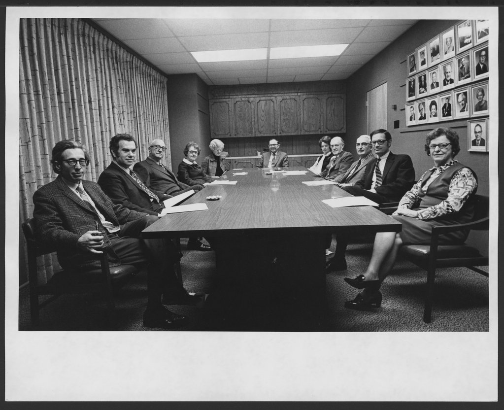 Bulletin of the Menninger Clinic editorial staff in Topeka, Kansas - This photograph shows, left to right, Jerome Katz, M.D.; Edwin Levy, M.D.; Karl Menninger, M.D.; Jean Menninger; Virginia Eicholz; Sydney Smith, Ph.D.; Melba Ludvicek, Herbert Modlin, M.D.; Paul Pruyser, Ph.D., Stephen Appelbaum, Ph.D.; Hilda Donnelly.
