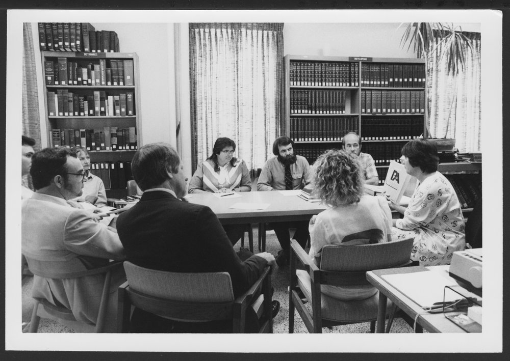 Menninger Foundation Professional Library, Topeka, Kansas - Chief Librarian Alice Brand, far right, gives training for staff on the new computerized library search system,