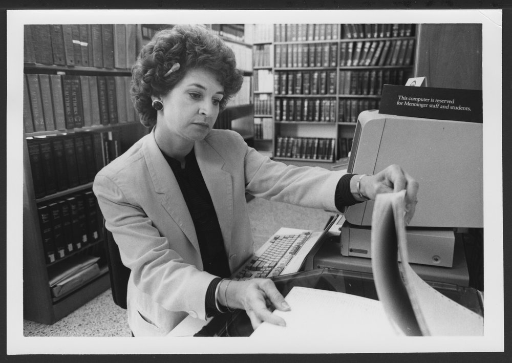Menninger Foundation Professional Library, Topeka, Kansas - Research Librarian Marcy Schott performs literature searches for staff.