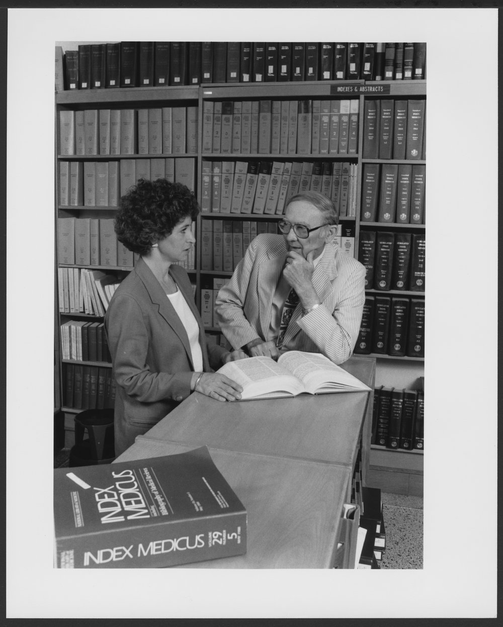 Menninger Foundation Professional Library, Topeka, Kansas - Marcy Schott, Research Librarian,  interviews Syndney Smith, Ph.D. for a literature search for him.