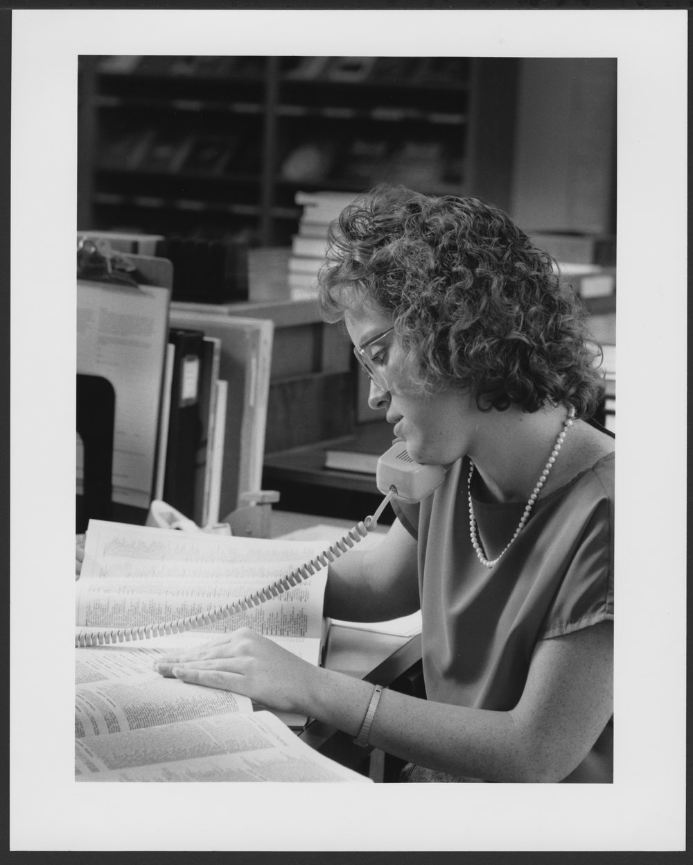 Menninger Foundation Professional Library, Topeka, Kansas - Lynda Jones, Library Technician, responds to a telephone request for information.