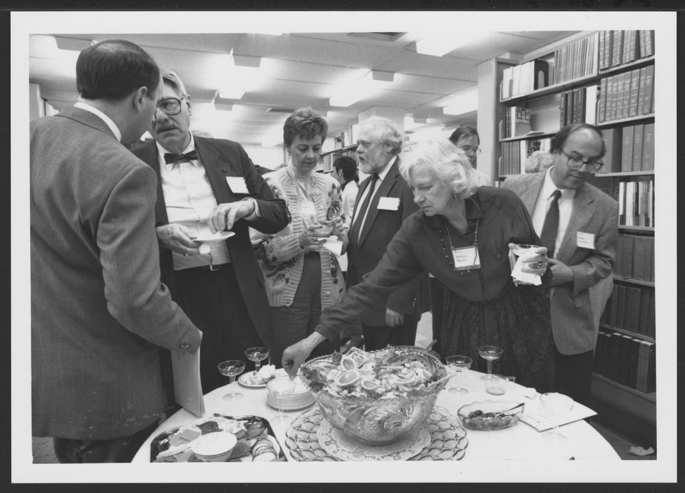 Menninger Foundation Professional Library, Topeka, Kansas - The staff of the Professional Library hosted an Author's Reception each year for the many authors who worked at Menninger and published during that year.  This was a scene from the 1992 reception.