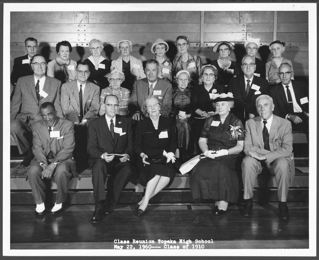 Dr. Karl Menninger - The 50th class reunion of Topeka High School Class of 1910.  Mr. and Mrs. David Neiwanger are in the back row, far left.  Dr. Karl is in the 2nd row, 2nd from the right.