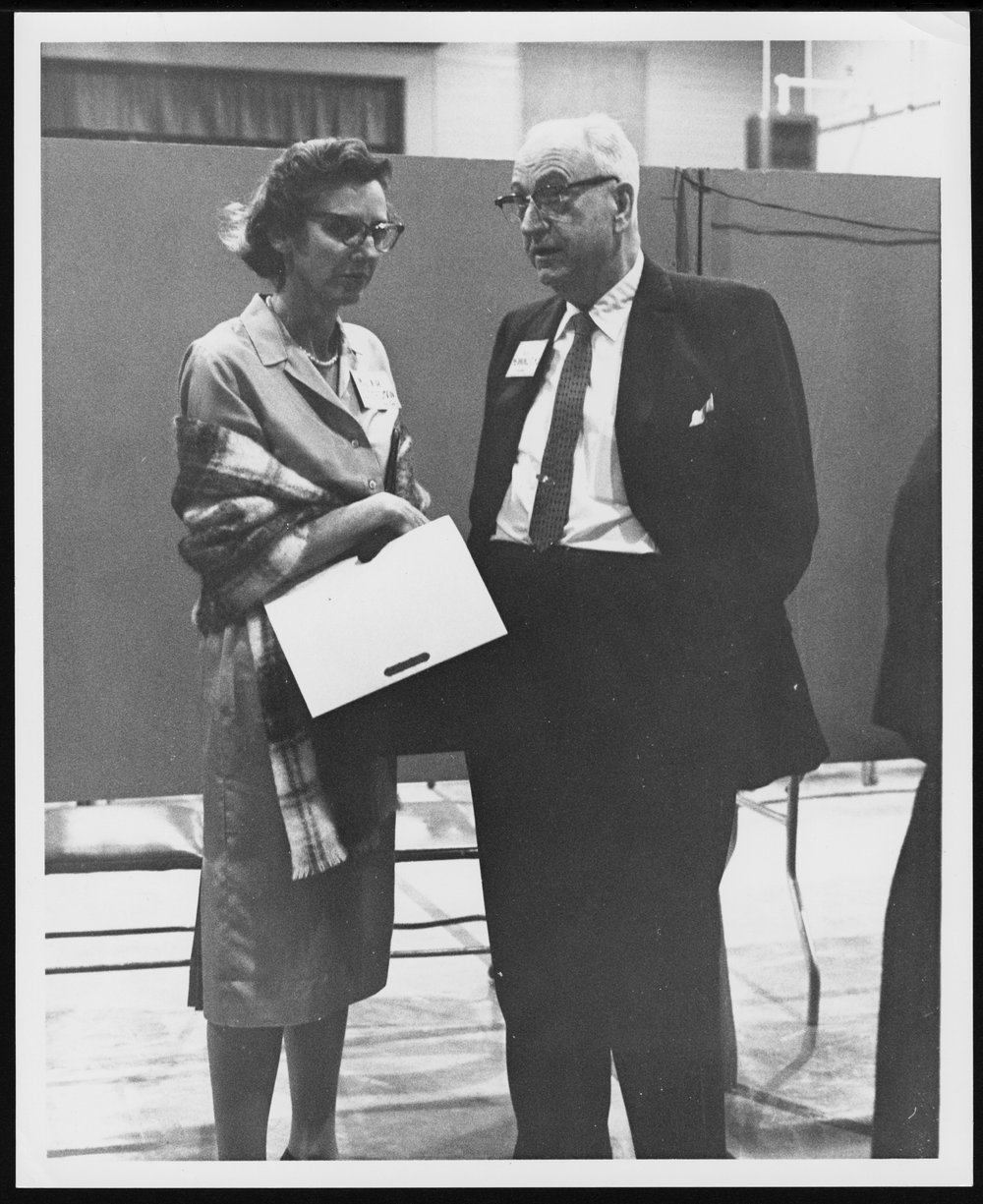 Dr. Karl Menninger - Dr. Karl and his daughter Mrs. Julia Gottesman at the 1961 annual meeting.  They are in the Hopkins Building.