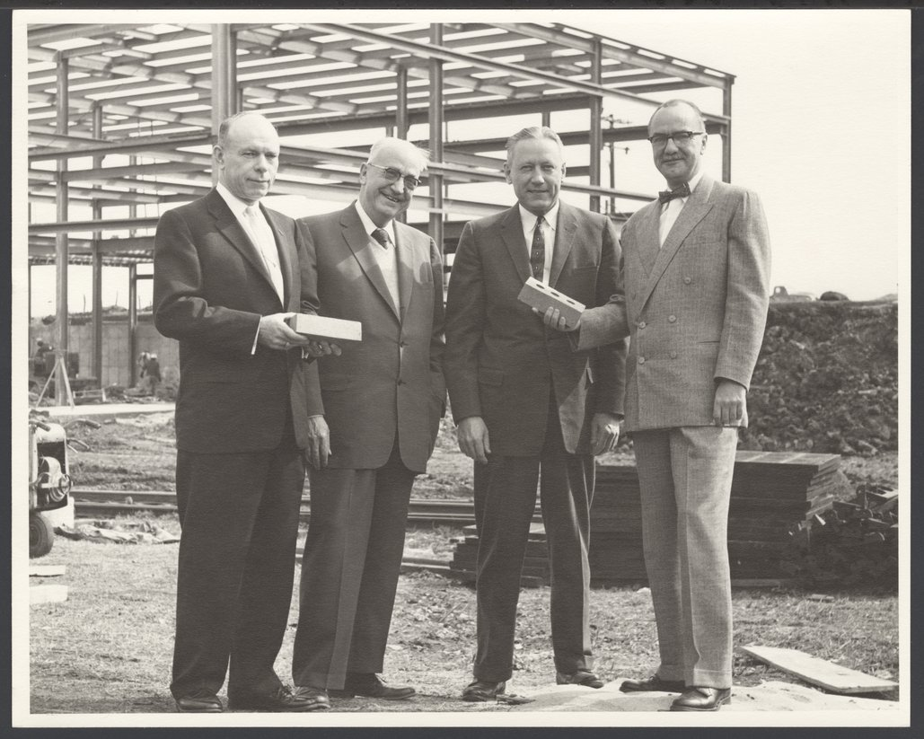 Karl Menninger, M.D. - This photograph was taken at the dedication of the power plant for Topeka State Hospital, April 1954.  Shown are Frank Long, Dr. Karl, Dr. George Jackson, and Dr. Alfred Bay, Superintendent of Topeka State Hospital.