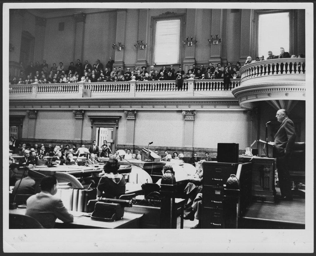 William C. Menninger, M.D. addressing state legislatures - Dr. Will is addressing the Colorado legislature in this 1960 photograph.