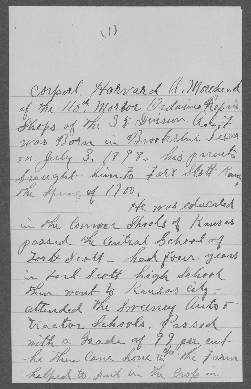 Howard A. Morehead, World War I soldier - 1