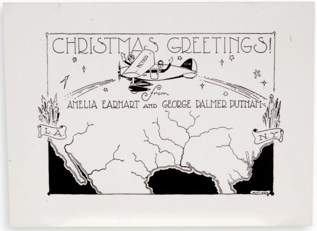 Amelia Earhart Christmas card