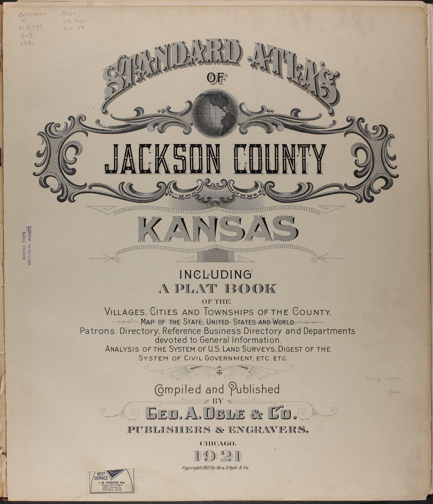 Standard atlas of Jackson County, Kansas - Title Page