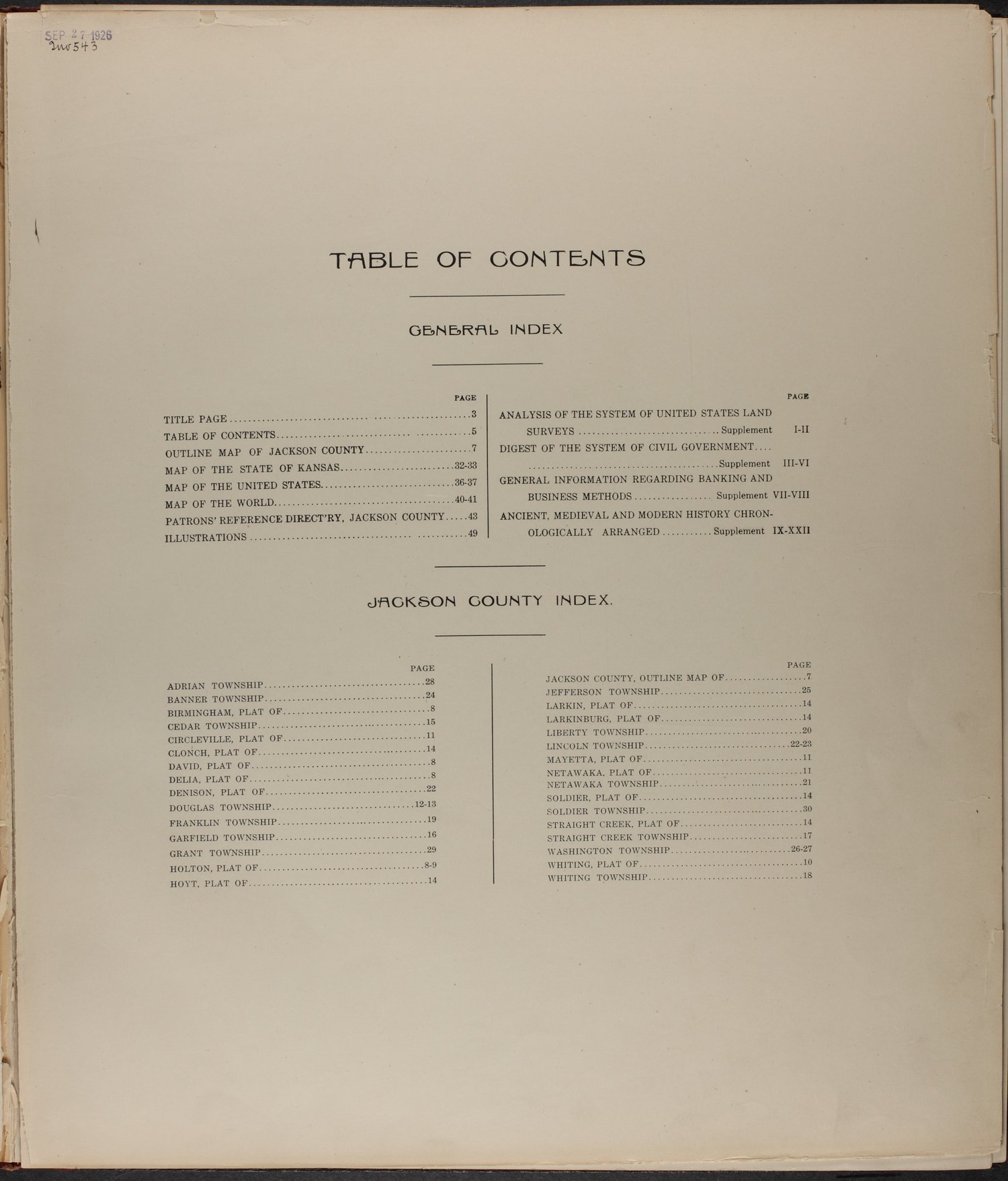 Standard atlas of Jackson County, Kansas - Table of Contents