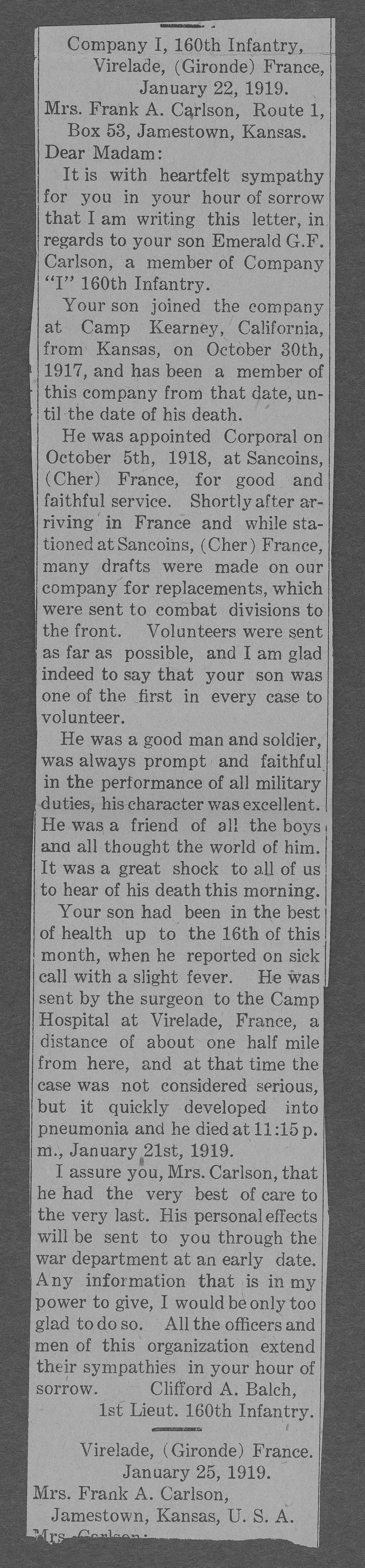 Emerald G.F. Carlson, World War I soldier - 8