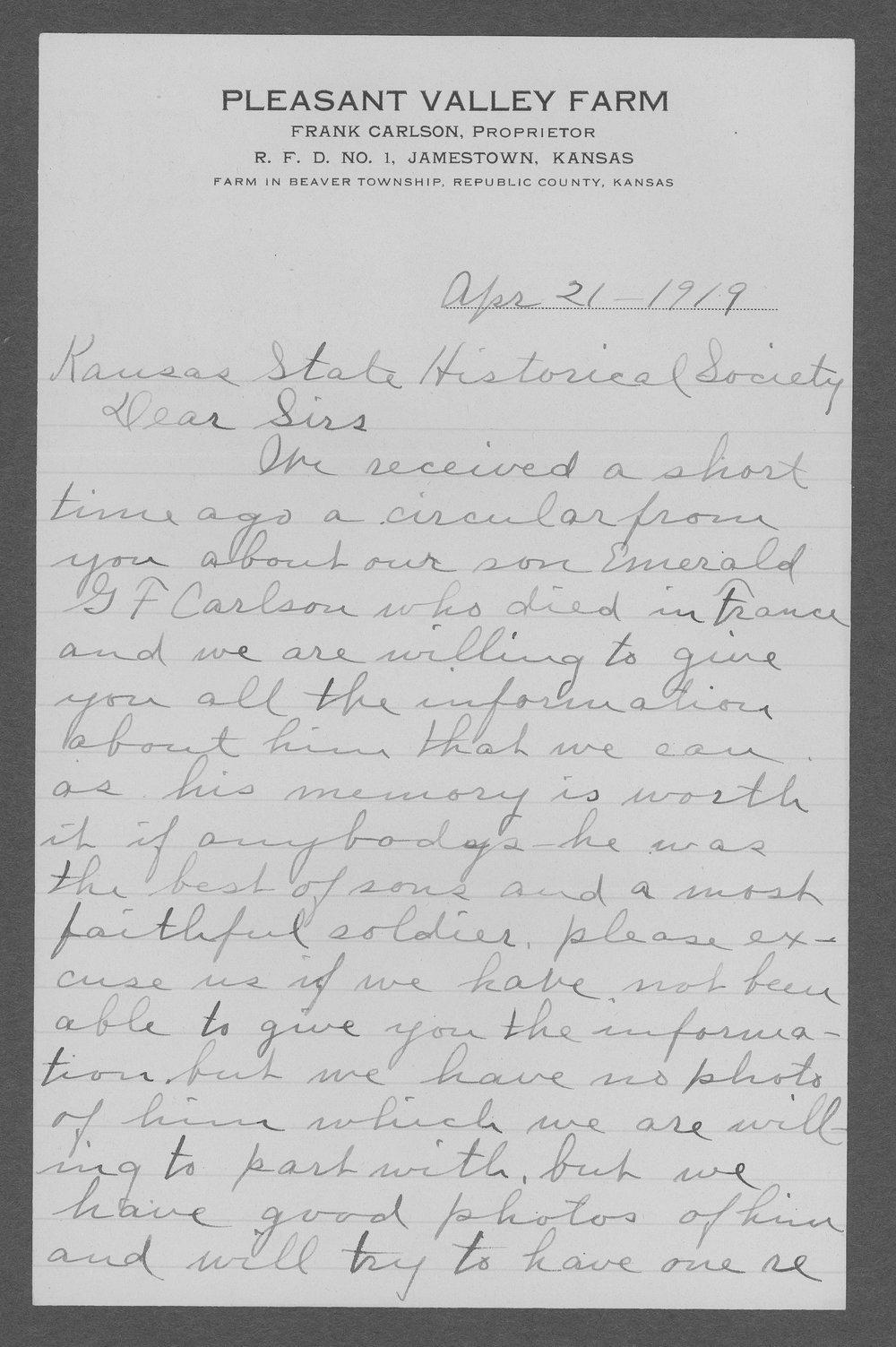 Emerald G.F. Carlson, World War I soldier - 10