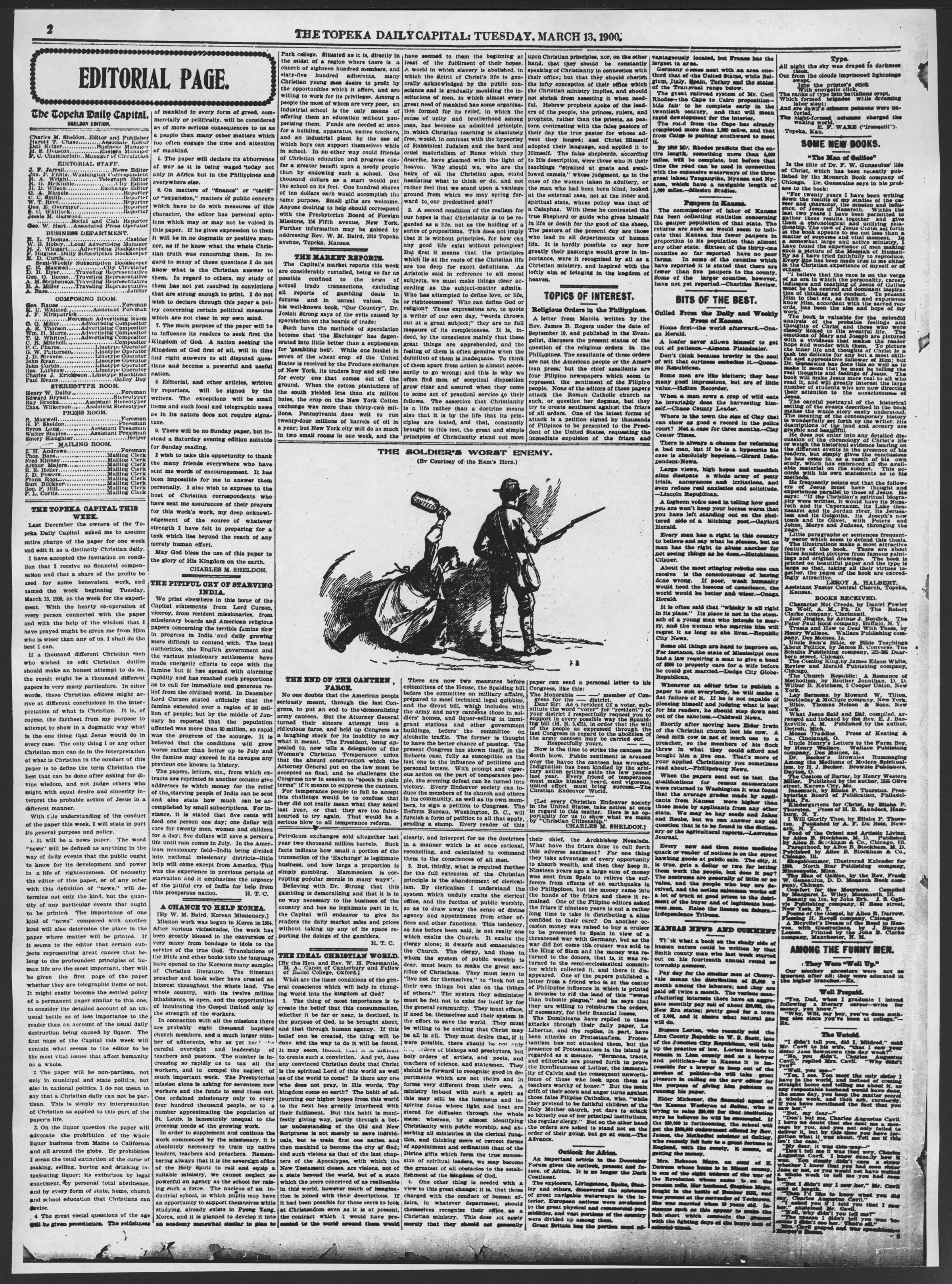 The Topeka daily capital. Sheldon edition - 2, Tuesday, March 13, 1900